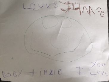 James, 4 (smiley face, I love you Baby Tinsley)